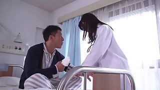 Hardcore fucking on transmitted to bed with Japanese nurse Tsukasa Aoi