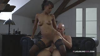 Inky chick puts entire white flannel up their way shaved cherry