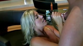 Lusty ash-blonde mom with hefty boobies is inhaling lollipop while getting mainly all fours mainly the floor and getting screwed