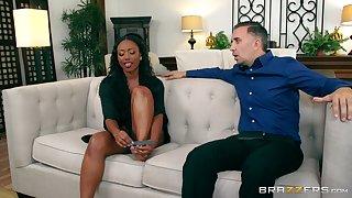 Ebony beauty soaks her prospect in the white man's load