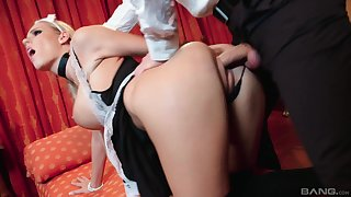 Addictive anal lovemaking suits the big-busted maid with middling orgasms