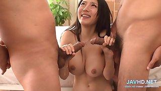 Lustful Japanese MILF gangbang sizzling xxx video