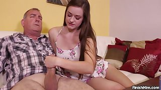 Unlighted cutie Leigh Rose gives an older guy a great hanjob