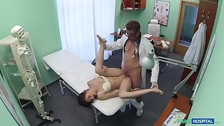 Doc pulls sex toy distance from close-fisted pussy