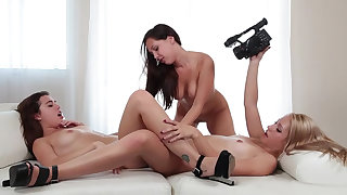 Lesbian casting with toys