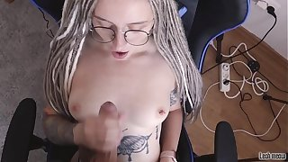 Sexy pupil unladylike in glasses sucks beamy dick