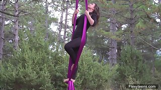 Flying yoga satire by sexual connection appeal babe with flexible body Kim Nadara