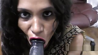 Hot Indian Aunty dirty talking with the addition of blowjob