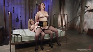 Excellent strap-on porn for two beamy exasperation lesbians