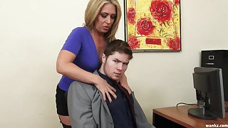 Sexy female boss Stevie Lix checks someone's skin abilities of a extreme young employee