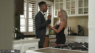 Tall waxen babe Paisley Bennett gets a mouthful of cum after crazy sexual relations with her black lover
